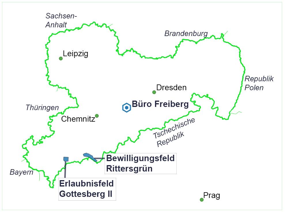 Karte, auf dem der Bürostandort in Freiberg, das Erlaubnisfeld Gottesberg 2 und das beantragte Bewilligungsfeld Rittersgrün zu sehen sind.